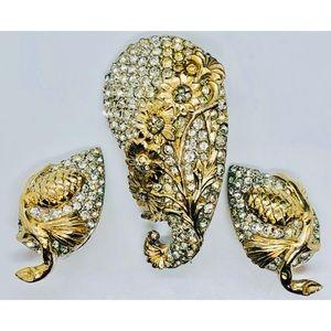 3pc Vintage REJA Rhinestone Brooch & Clip Earrings
